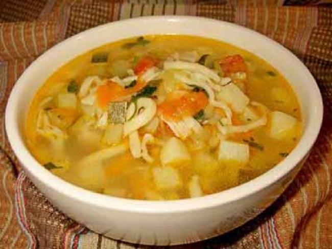 Суп овощной с акулой