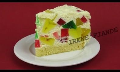 Желейный торт с бисквитом